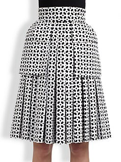 Alexander McQueen - Eyelet-Print Pleated Cotton Skirt