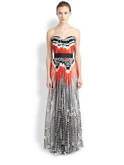 Alexander McQueen - Feather-Print Strapless Silk Chiffon Gown