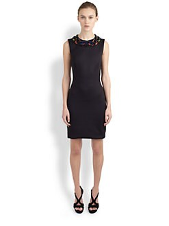 Alexander McQueen - Embellished Neoprene Shift Dress