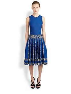 Alexander McQueen - Reptile-Print Fit-And-Flare Dress