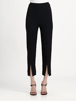 Alexander McQueen - Leaf Crepe Slit-Front Trousers