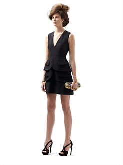 Alexander McQueen - Double-Peplum Crepe Dress