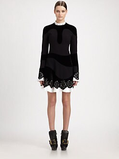 Alexander McQueen - Stud Collar Velvet & Crepe Dress