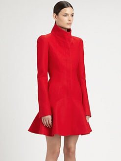 Alexander McQueen - Wool Crepe Flounce Coat