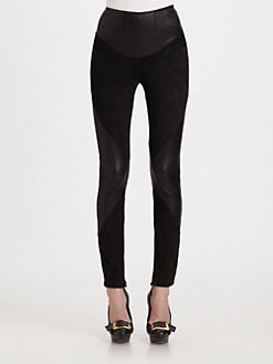 Alexander McQueen - Stretch Leather & Suede Pants