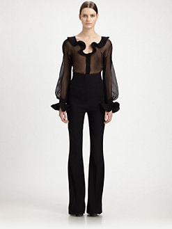 Alexander McQueen - Silk Ruffle Front Blouse