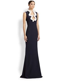 Alexander McQueen - Ruffle Neck Leaf Crepe Gown