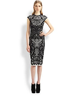 Alexander McQueen - Lace-Print Pencil Dress