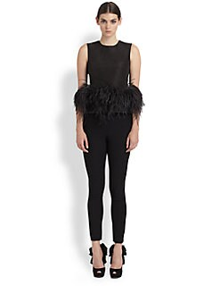 Alexander McQueen - Feather-Trimmed Silk Top