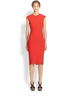 Alexander McQueen - Cap-Sleeve Knit Embossed Dress