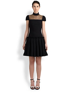 Alexander McQueen - Beaded-Yoke Pleated-Skirt Dress