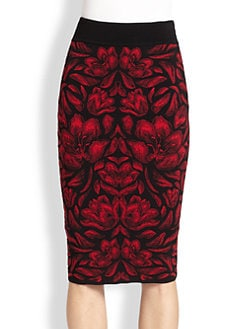 Alexander McQueen - Floral Knit Pencil Skirt