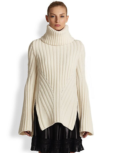 Alexander McQueen Funnel Neck Wool and Cashmere Sweater