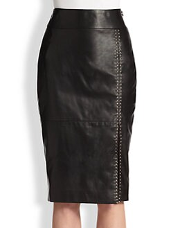 Alexander McQueen - Stud-Detail Leather Pencil Skirt