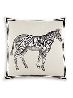 John Robshaw - Zebra Hand-Painted Decorative Pillow