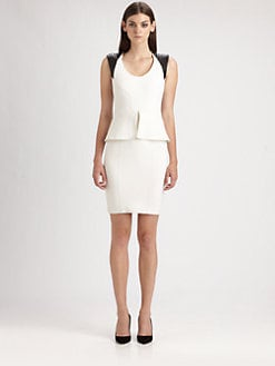 Yigal Azrouel - Leather-Trimmed Peplum Dress