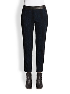 Yigal Azrouel - Leather-Trim Jacquard Pants