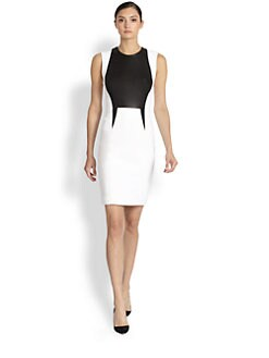 Yigal Azrouel - Leather Panel Stretch Tech Dress