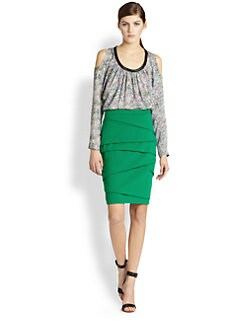 Yigal Azrouel - Leather-Trimmed Printed Silk Top