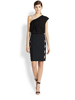 Yigal Azrouel - Silk Crepe Asymmetrical Pleated Top