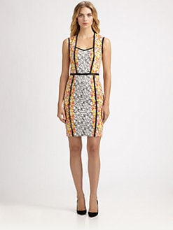 Yigal Azrouel - Leather-Trimmed Floral Dress