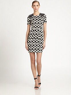 Yigal Azrouel - Leather-Paneled Printed Stretch Cotton Dress