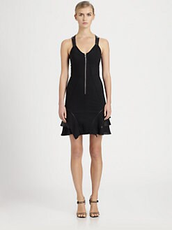 Yigal Azrouel - Leather-Trimmed Crepe Dress