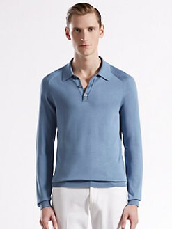 Gucci - Fine Silk Long-Sleeve Polo