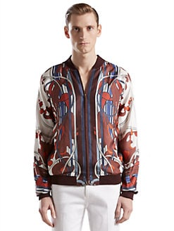 Gucci - Sprig-Print Silk Twill Blouson