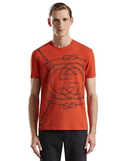 Gucci - Rope-Print Cotton T-Shirt