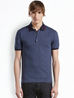 Gucci - GG Jacquard Cotton Pique Polo