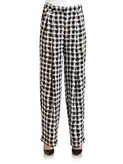 Sonia by Sonia Rykiel - Pleated Check-Print Silk Pants