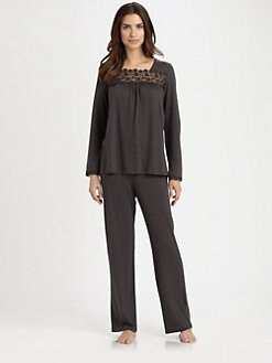 Hanro - Medea Embroidered Long-Sleeve Pajama Set