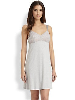 Hanro - Aida Cotton & Lace-Embellished Chemise