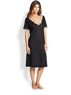 Hanro - Uptown Lace-Trim Jersey Short Gown <br>