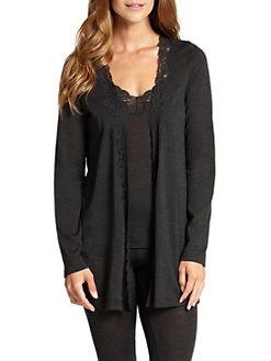 Hanro - Downtown Lace-Trimmed Cardigan <br>