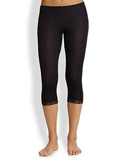 Hanro - Lace Trimmed Cropped Leggings<br>