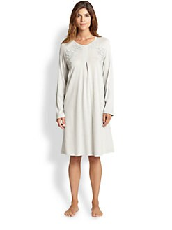 Hanro - Moma Long Sleeved Cotton &amp; Cashmere Short Gown <br>