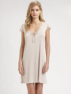 Hanro - Maud Lace-Trimmed Satin Short Gown