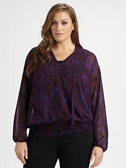 MICHAEL MICHAEL KORS, Salon Z - Printed Tie-Neck Blouse