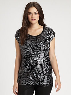 MICHAEL MICHAEL KORS, Salon Z - Sequin/Foil Print Top