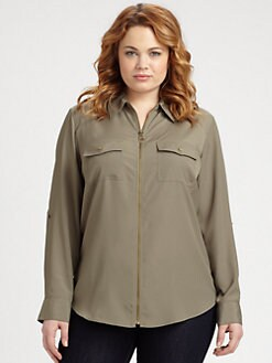 MICHAEL MICHAEL KORS, Salon Z - Dog Tag-Zip Camp Shirt