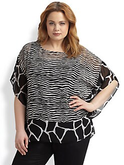 MICHAEL MICHAEL KORS, Salon Z - Animal Print Sheer Top