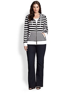 MICHAEL MICHAEL KORS, Salon Z - Striped Zipper-Front Sweater