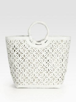 Nancy Gonzalez - Crocodile Medium Woven Cut-Out Tote