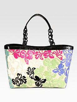 Nancy Gonzalez - Crocodile & Straw Floral Tote