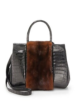 Nancy Gonzalez - Crocodile & Mink Medium Satchel/Brown