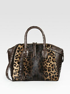 Nancy Gonzalez - Animal-Print Haircalf & Crocodile Satchel
