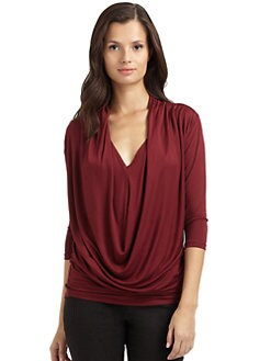 RED Saks Fifth Avenue - Drape-Front Jersey Top