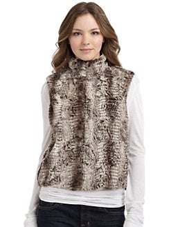 5/48 - Faux Fur Zip-Front Vest/Brown Multi